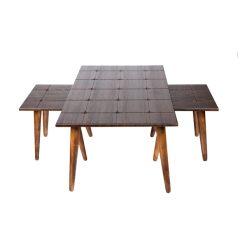 میز جلو مبلی مستطیل طرح دار قهوه ای (ونگه) کد A6-BR