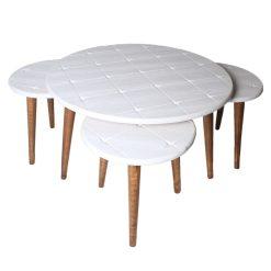 میز جلو مبلی گرد طرح دار سفید کد A2-WH