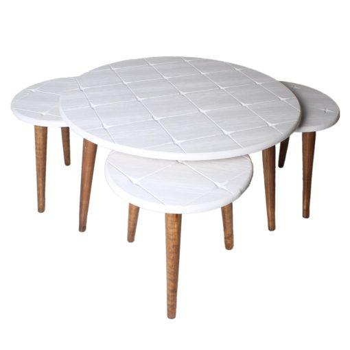 میز جلو مبلی گرد طرح دار سفید