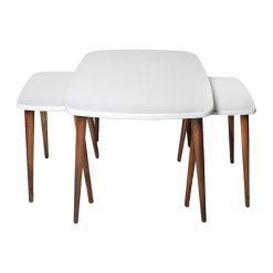 میز جلو مبلی مربع منحنی سفید کد A20-WH